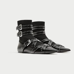 Zara buckled up flat sock boot